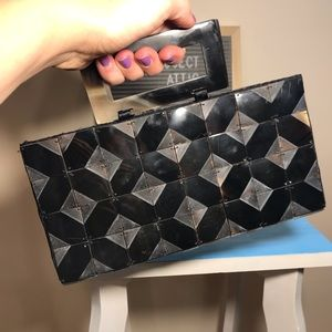 Vintage Tortoise Shell Lucite Tiled Clutch Handbag